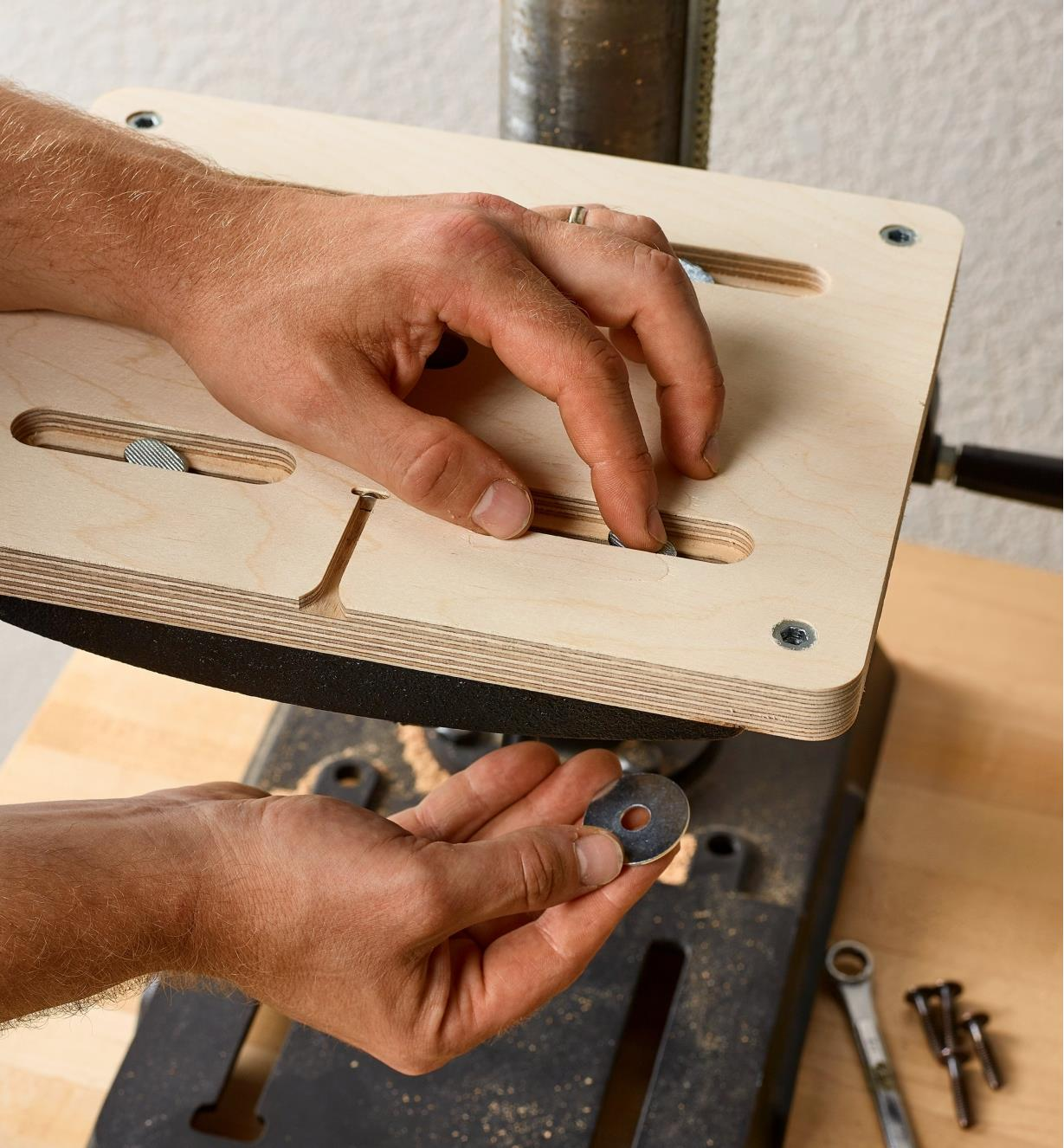 Attaching the included mounting plate used to install the Veritas small drill-press table