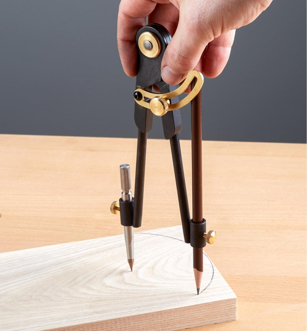 Scribing a circle onto a wooden workpiece using a bench compass
