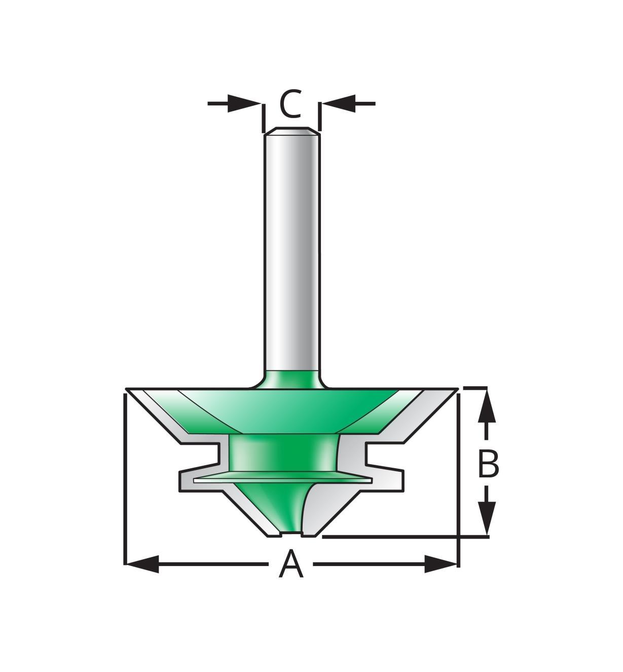 """18J7562 - 1 3/4"""" x 3/4"""" x 8mm 45° Lock Miter Bit"""