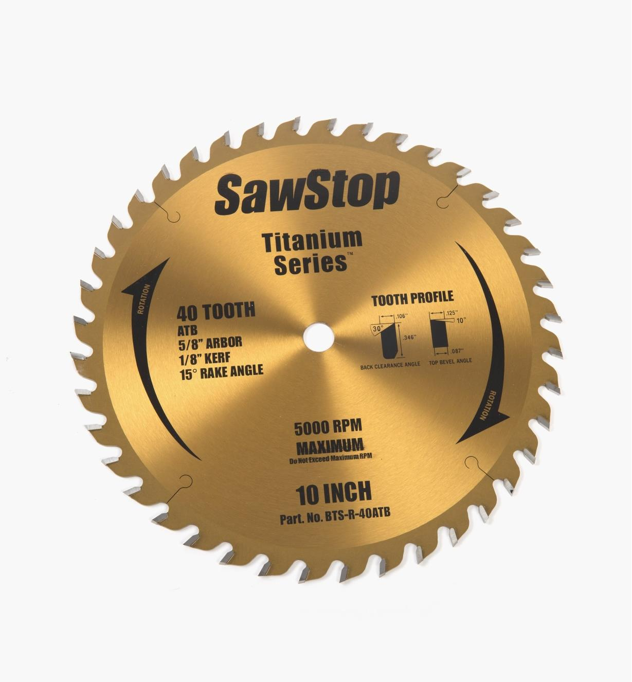 95T0520 - SawStop 40-Tooth Saw Blade