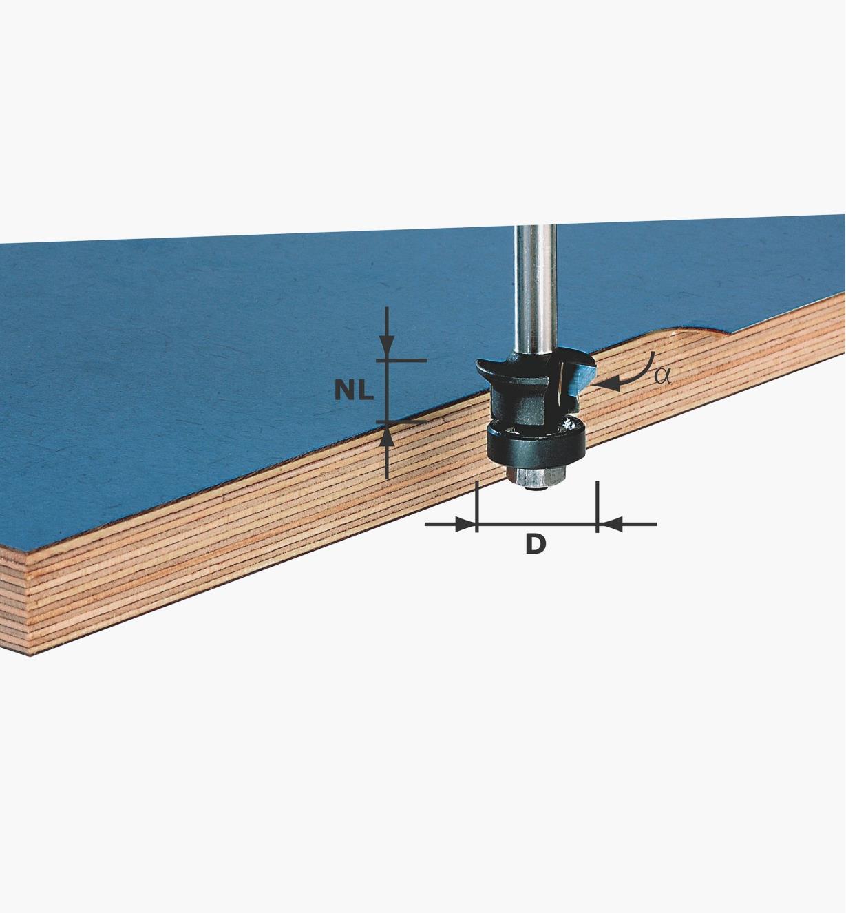 ZA491026 - Mèche à chanfreiner et affleurer diam. 24mm, H 11 mm, 0° ou 45°