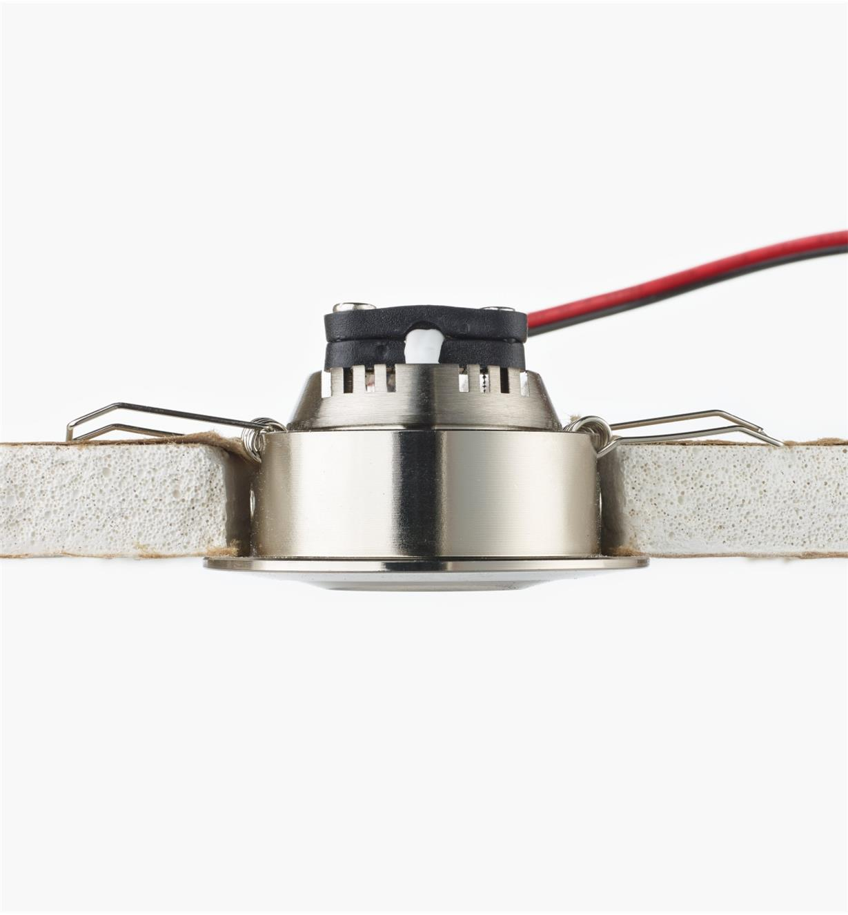 "Cutaway view of 2"" Warm White LED Spotlight installed in a ceiling"