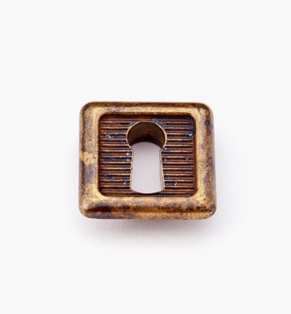 01X4223 - Entrée de serrure carrée encastrée de 25 mm x 25 mm, laiton ancien