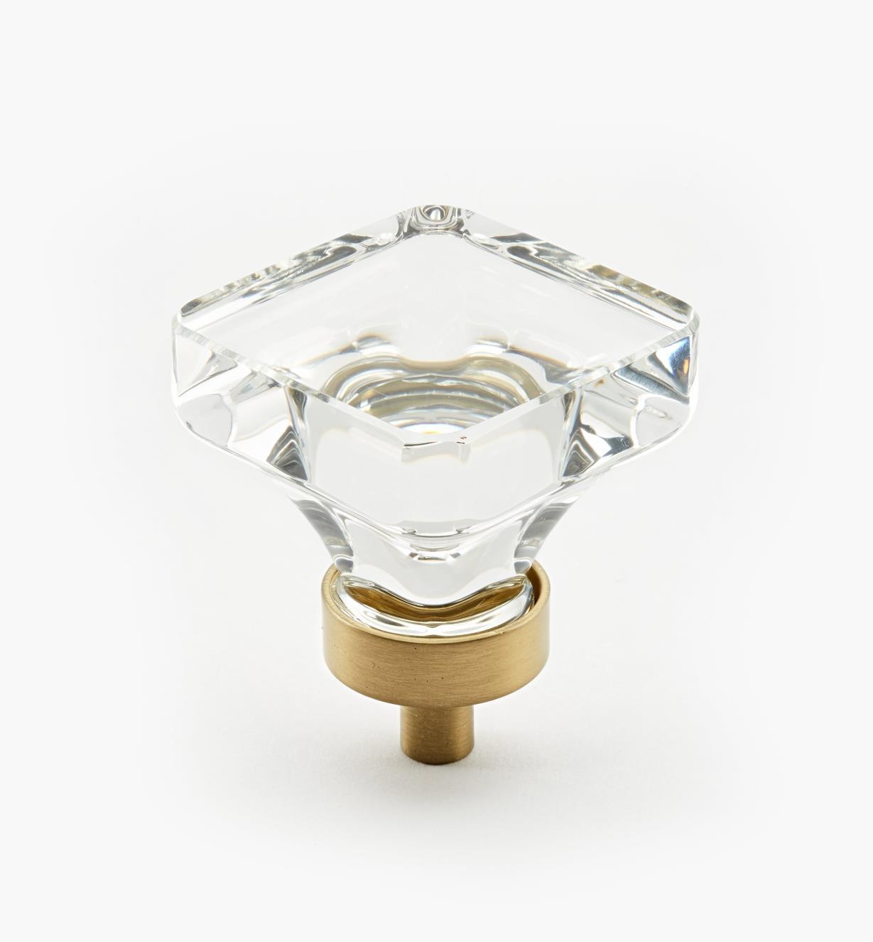 02A0544 - Bouton carré Glacio, champagne, 13/4pox 15/16po, l'unité