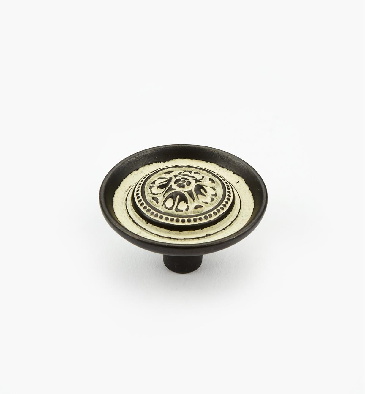 03W2827 - Bouton décoratif Biscayne, antique, 11/2po