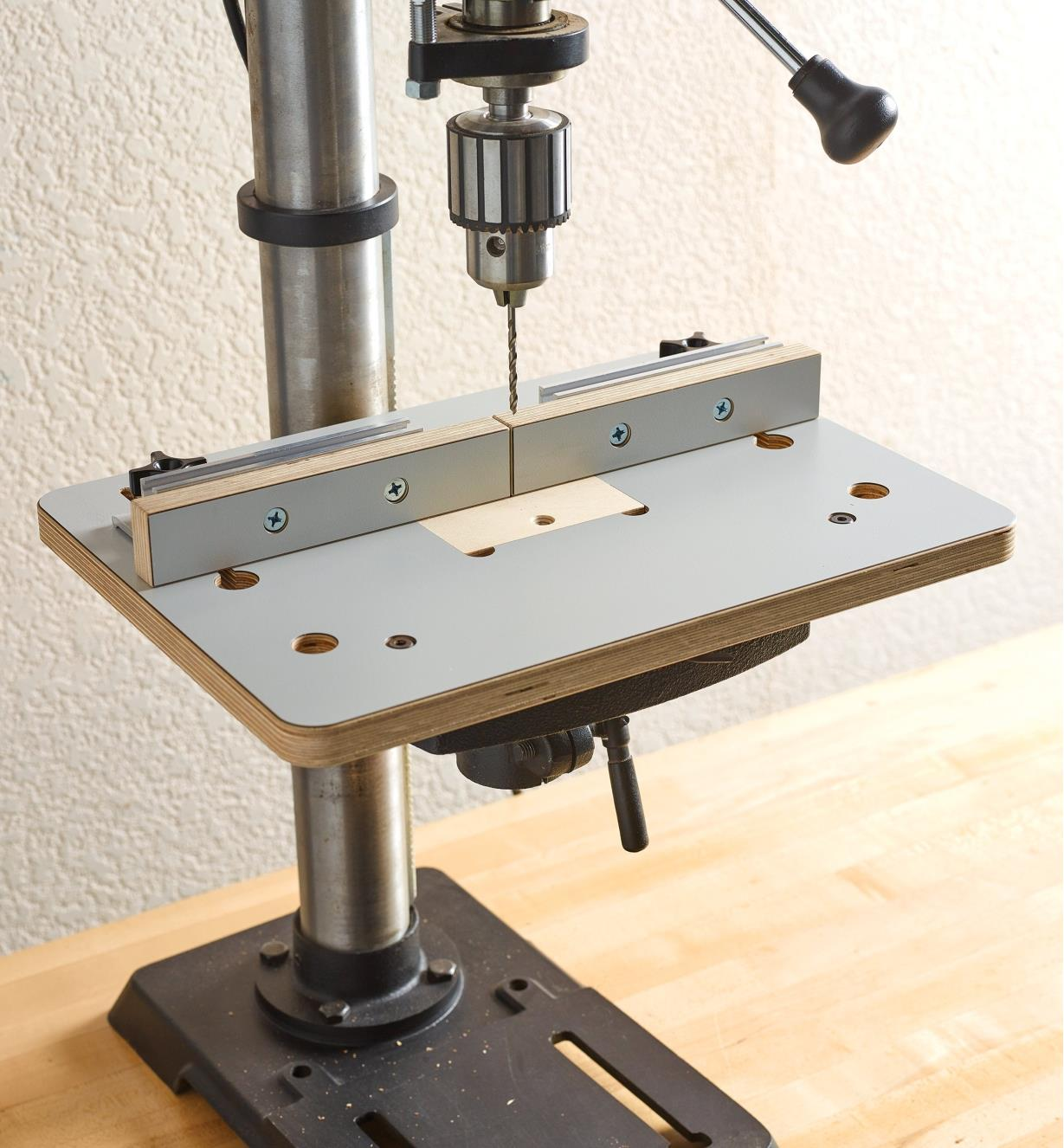 A Veritas small drill-press table and fence mounted on a drill press