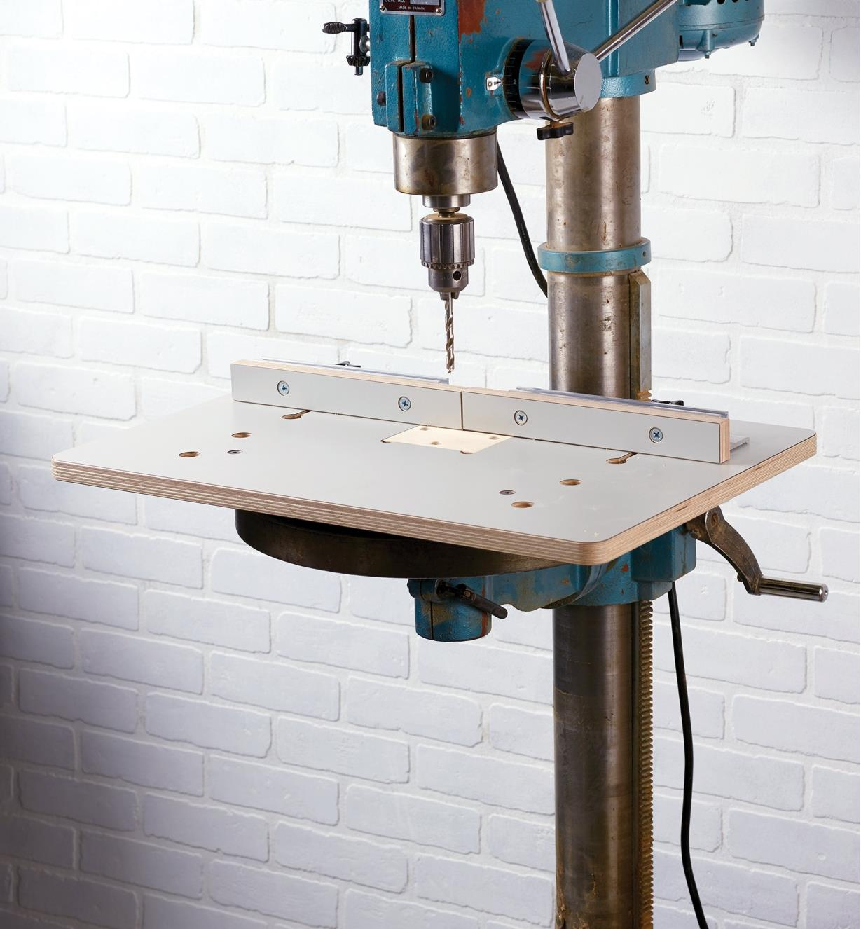 A Veritas large drill-press table and fence mounted on a drill press