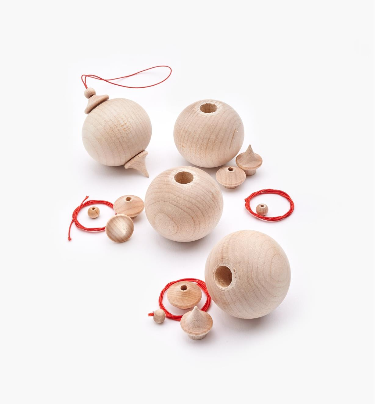 09A1074 - Wooden Ornaments Kit, pkg. of 4