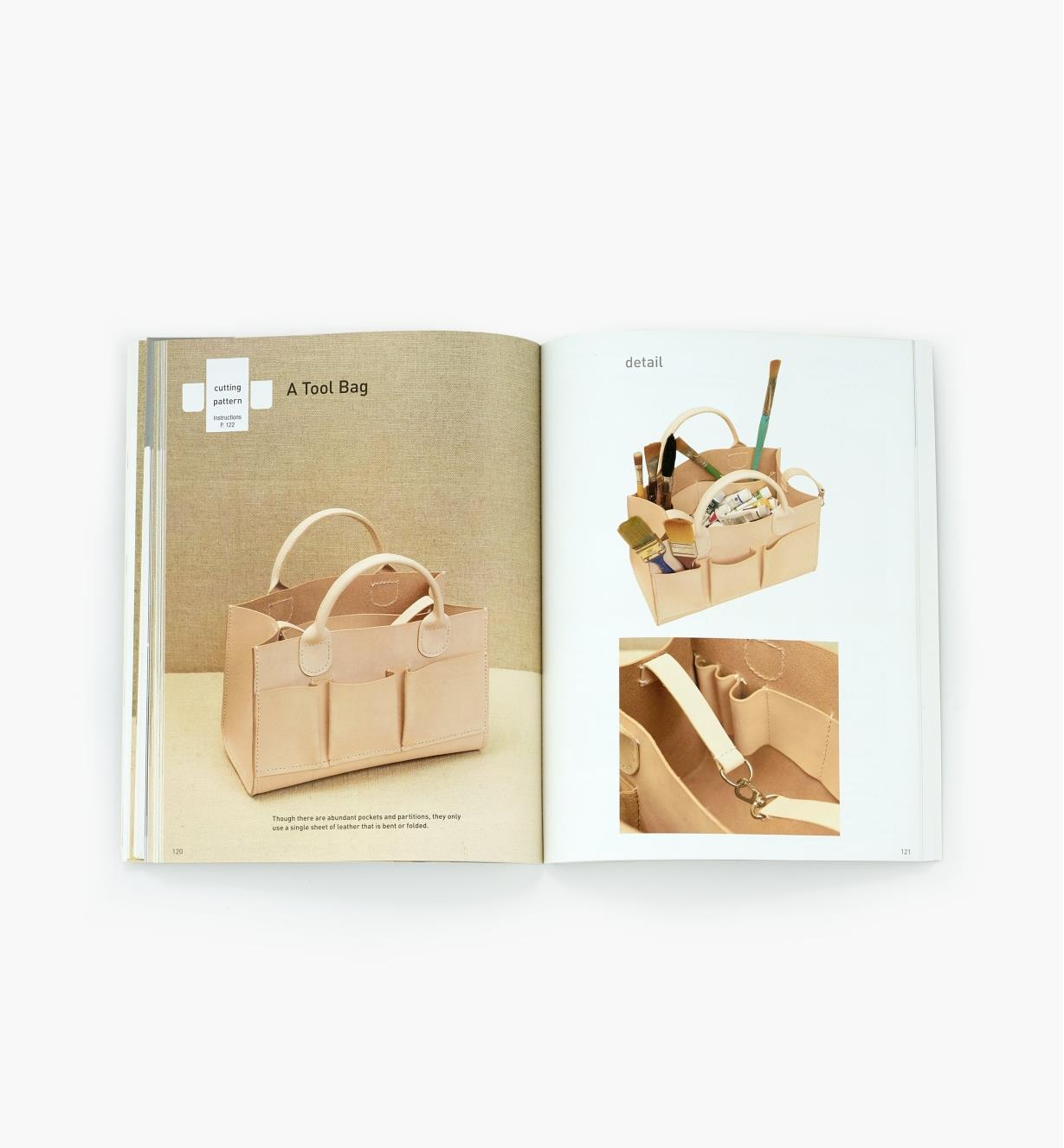 Two-page spread in Tanned Leather Hand-Made Bags showing a completed tool bag project and a detail of straps sewn inside the bag's gussets
