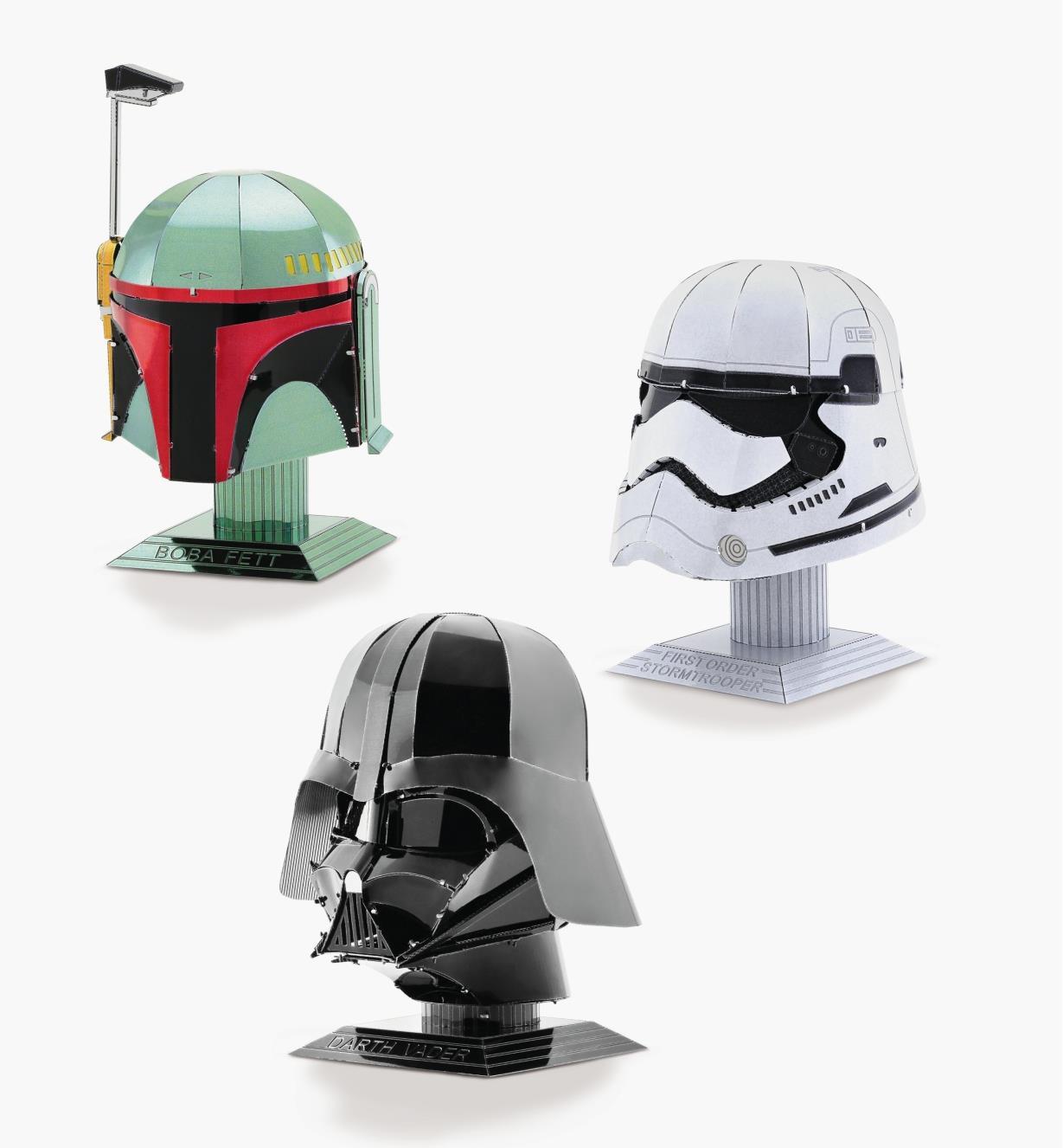 45K4168 - Collection des 3 modèles réduits en métal de Star Wars: Dark Vador, Boba Fett et stormtrooper du Premier Ordre