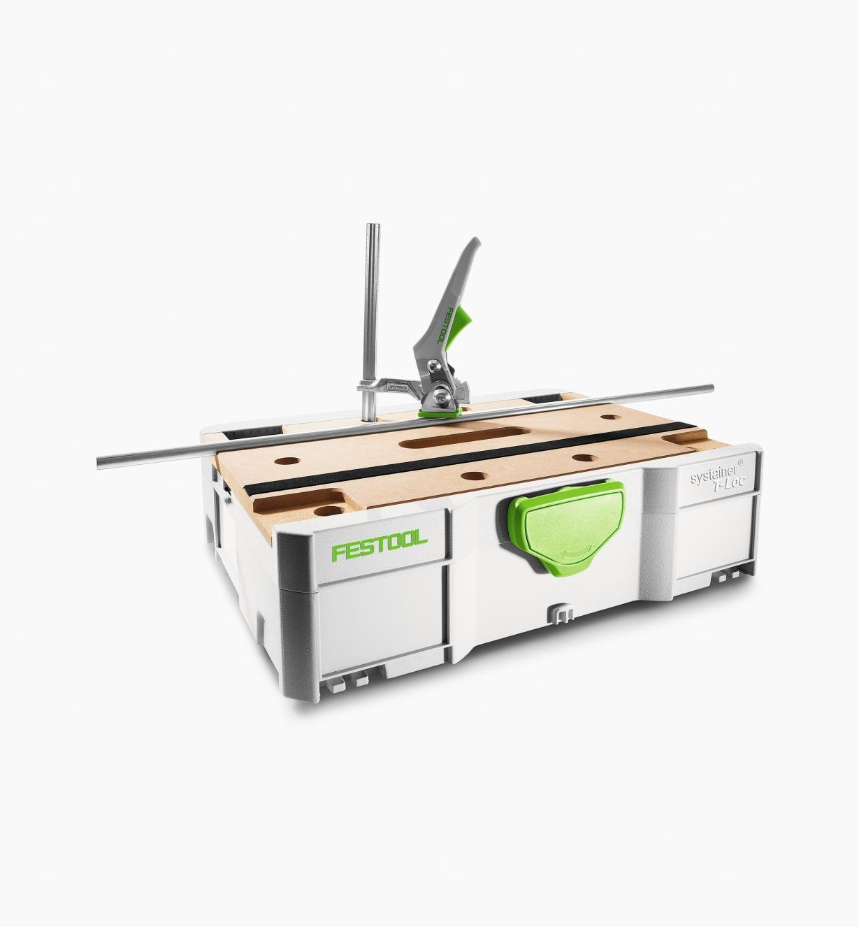 Sys-MFT Tabletop Systainer in use with Festool Quick Clamp