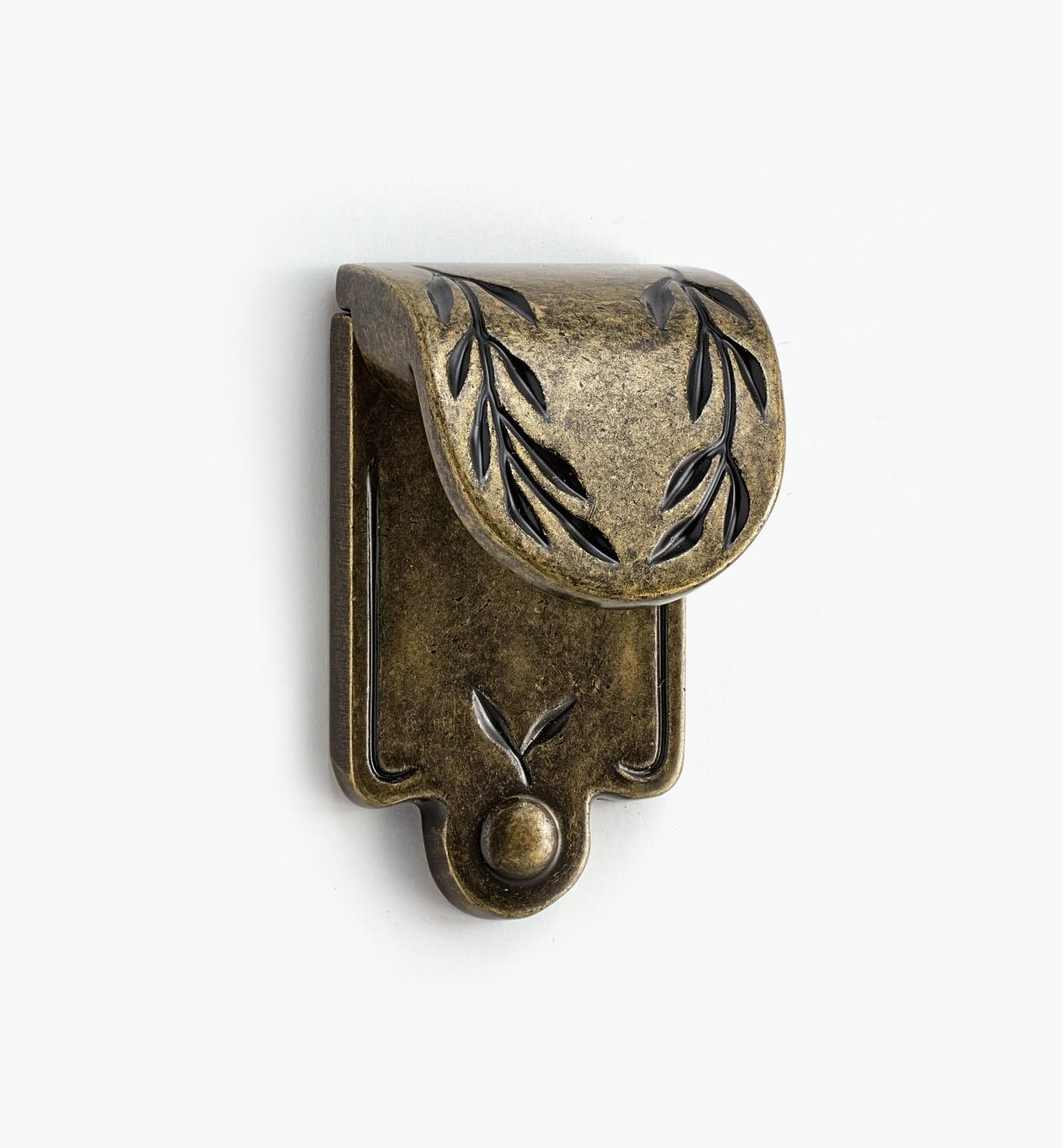 02A0503 - Leaf Finger Pull, Antique Brass