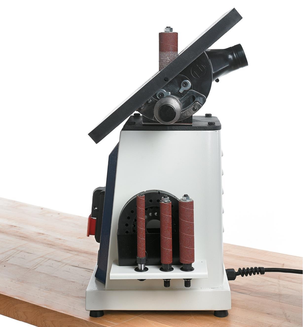 Table on the Rikon Oscillating Spindle Sander tilted 45°
