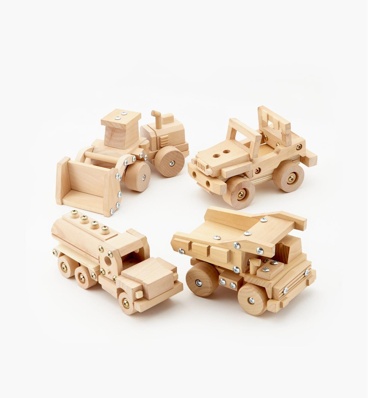 09A0560 - Set of 4 Easy-To-Build Wooden Toy Kits (Tanker Truck, Off-Road Vehicle, Dump Truck, Front-End Loader)