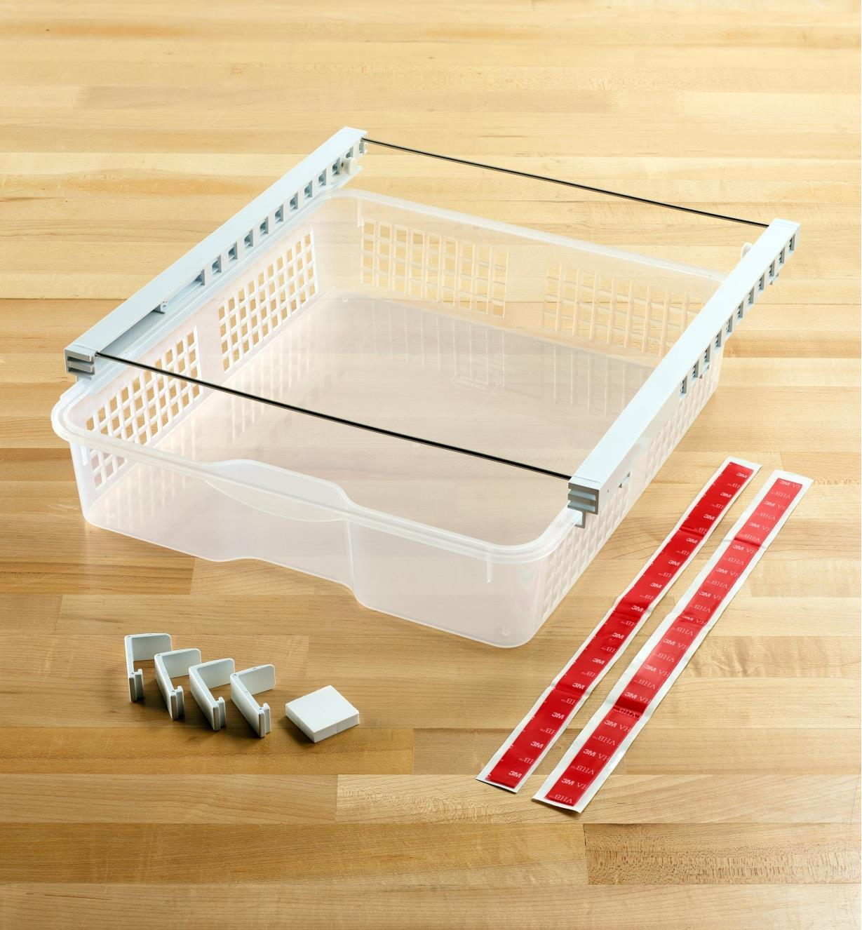 Wide hanging storage drawer ready to install with clips or included tape strips