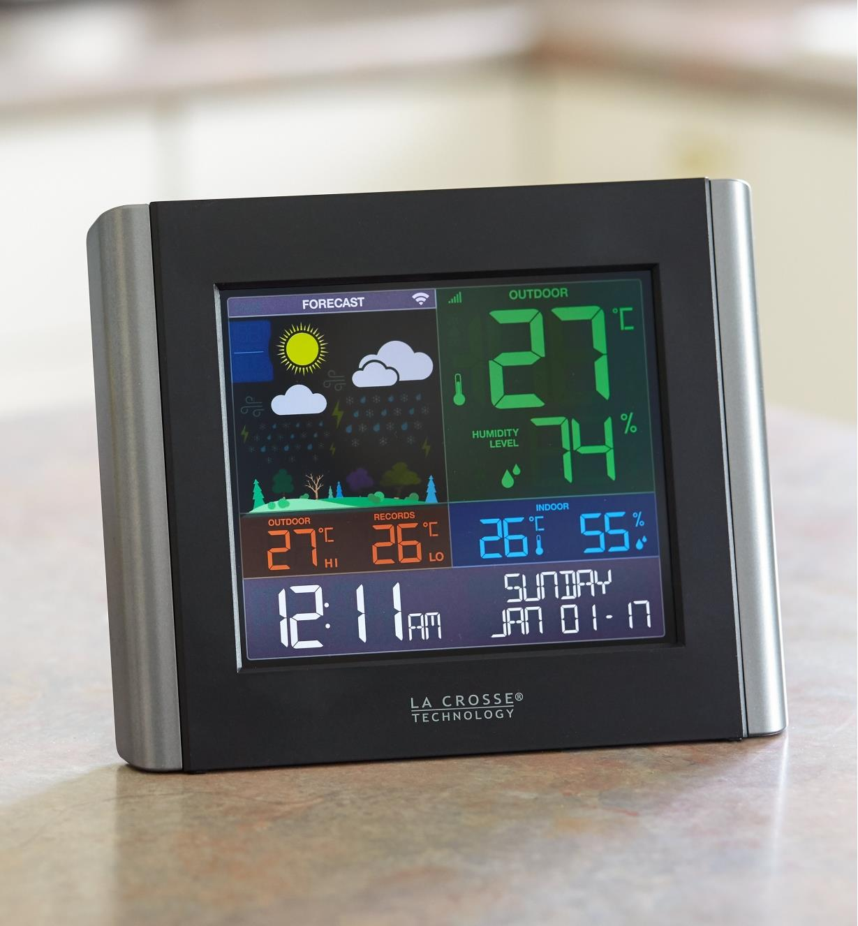 Wi-Fi weather station display sitting on a countertop