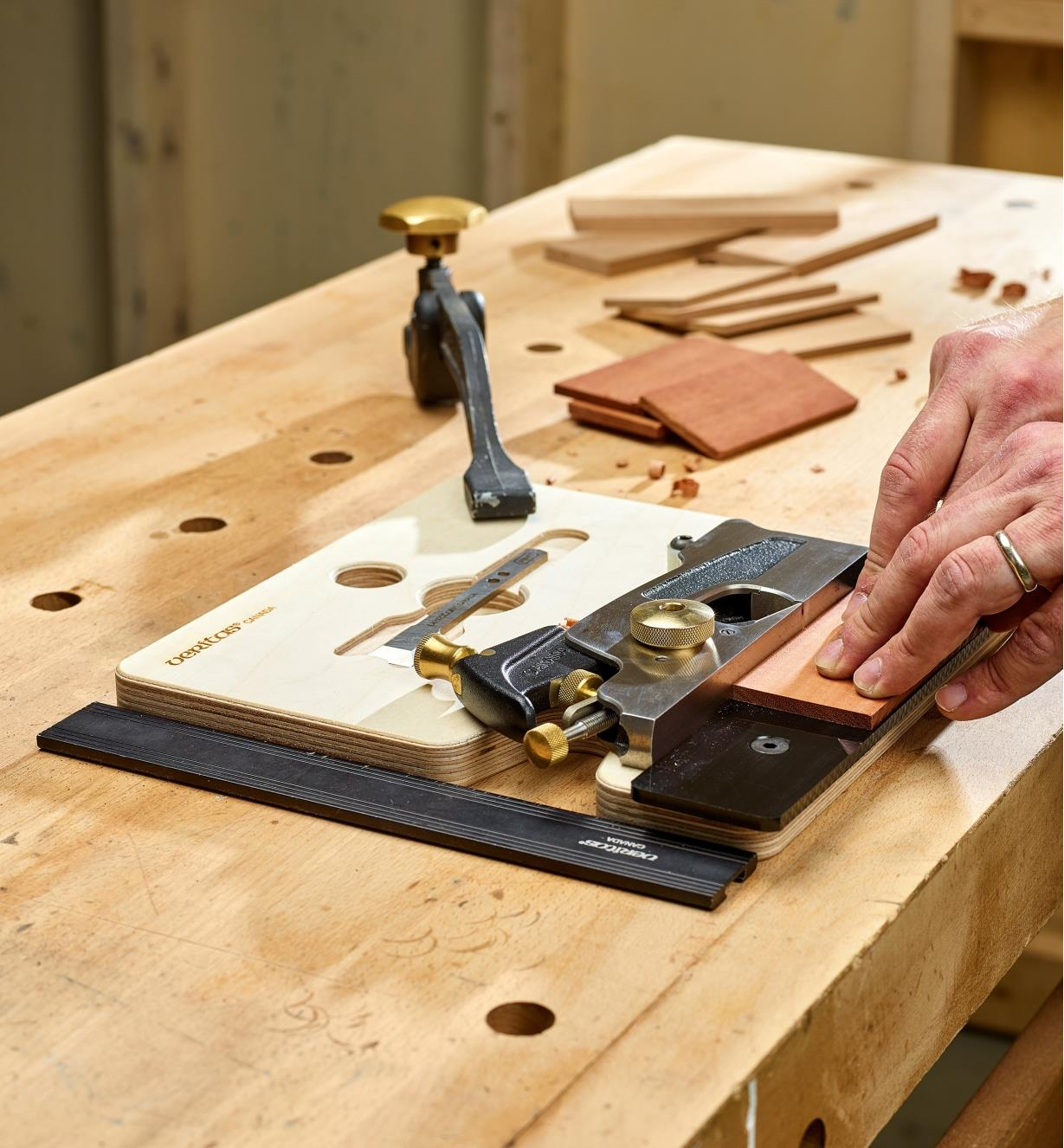 Using a hand jointer clamped flat to plane a small part with a medium shoulder plane