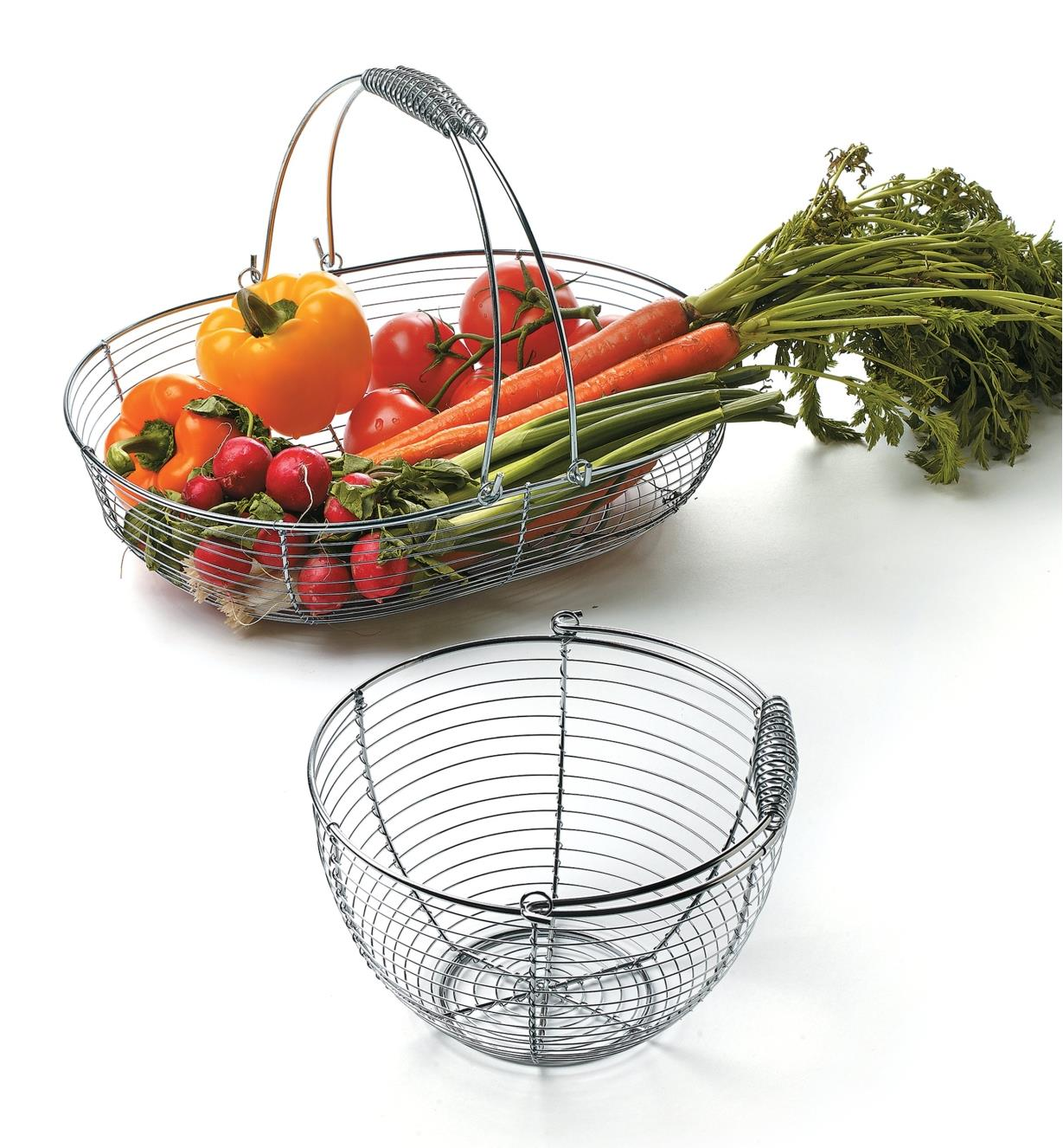 Large Wash Basket filled with garden vegetables, next to an empty small wash basket