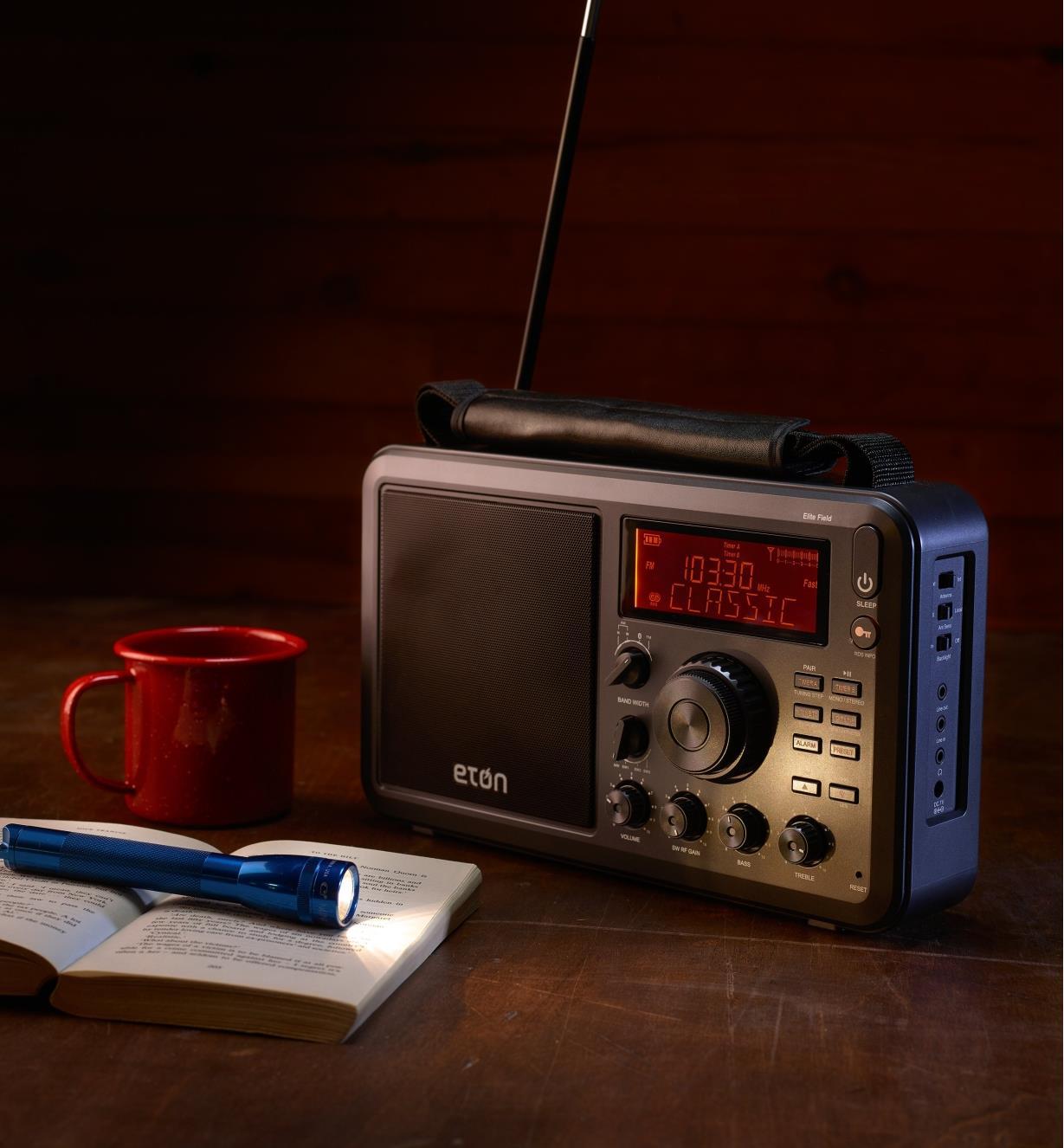 Eton AM/FM shortwave radio in a remote cabin