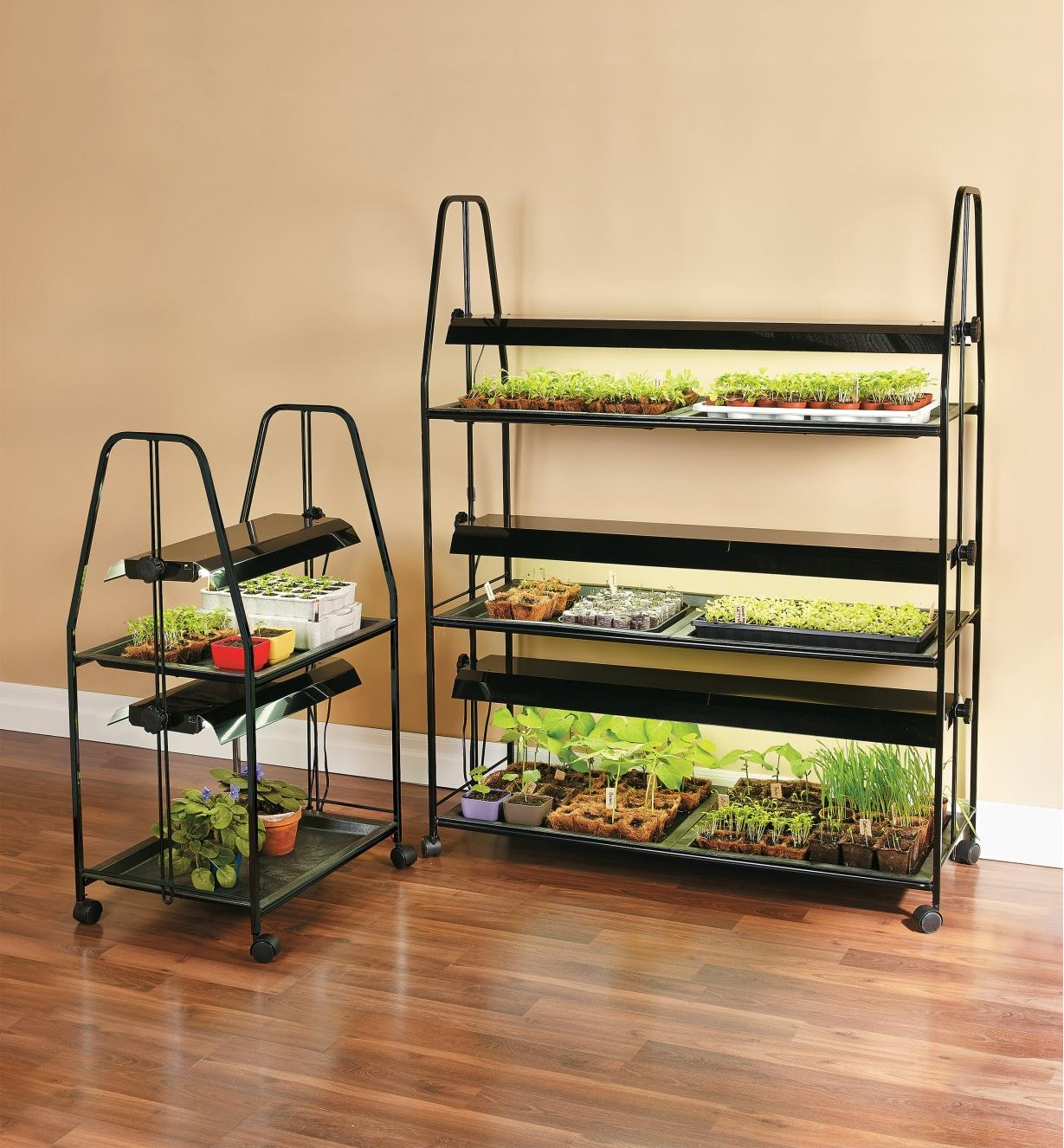 Two-tier and three-tier Floralight Grow-Light Stands with various plants growing on the tiers