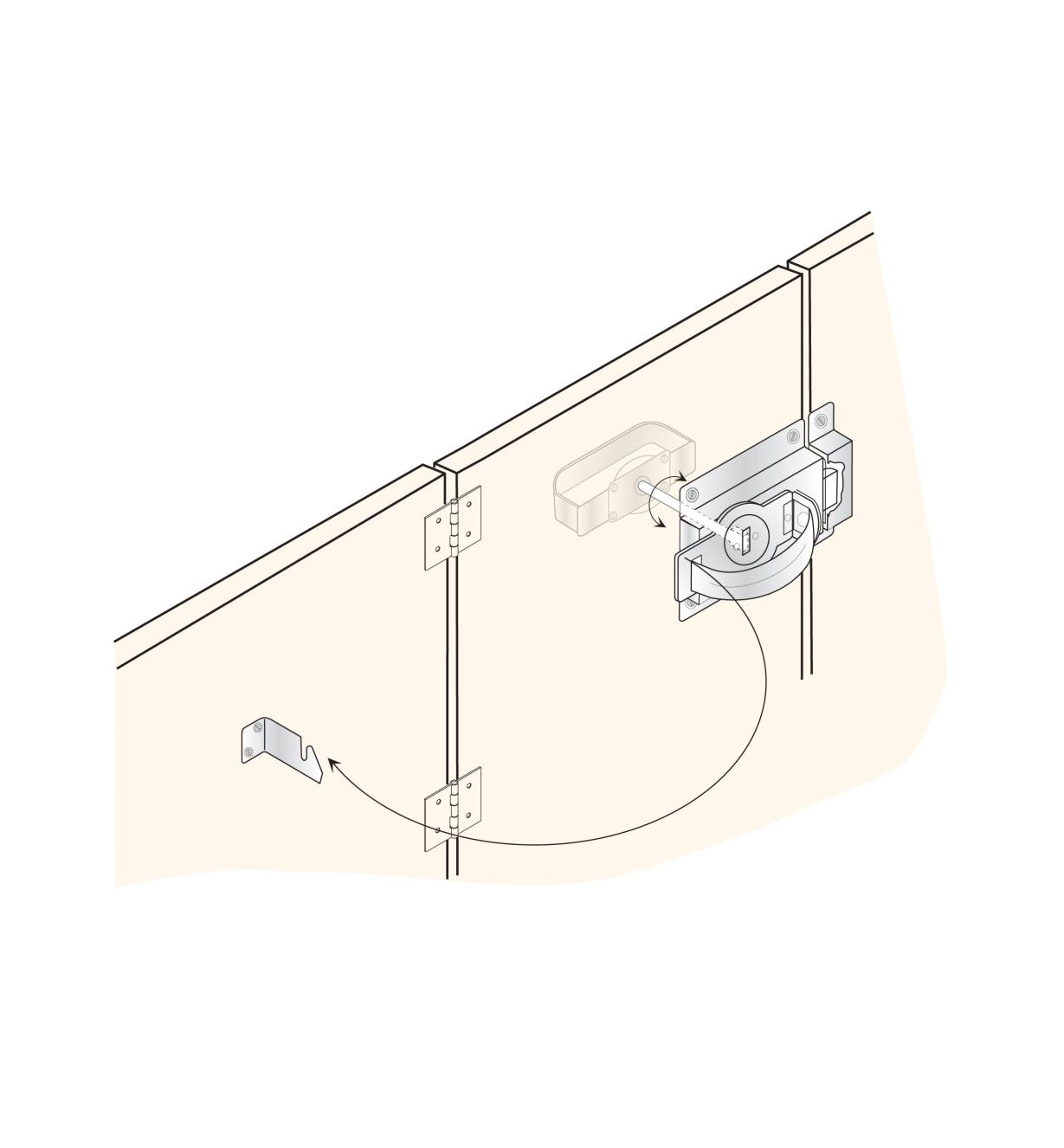 Ghosted illustration shows how the gate latch works when installed