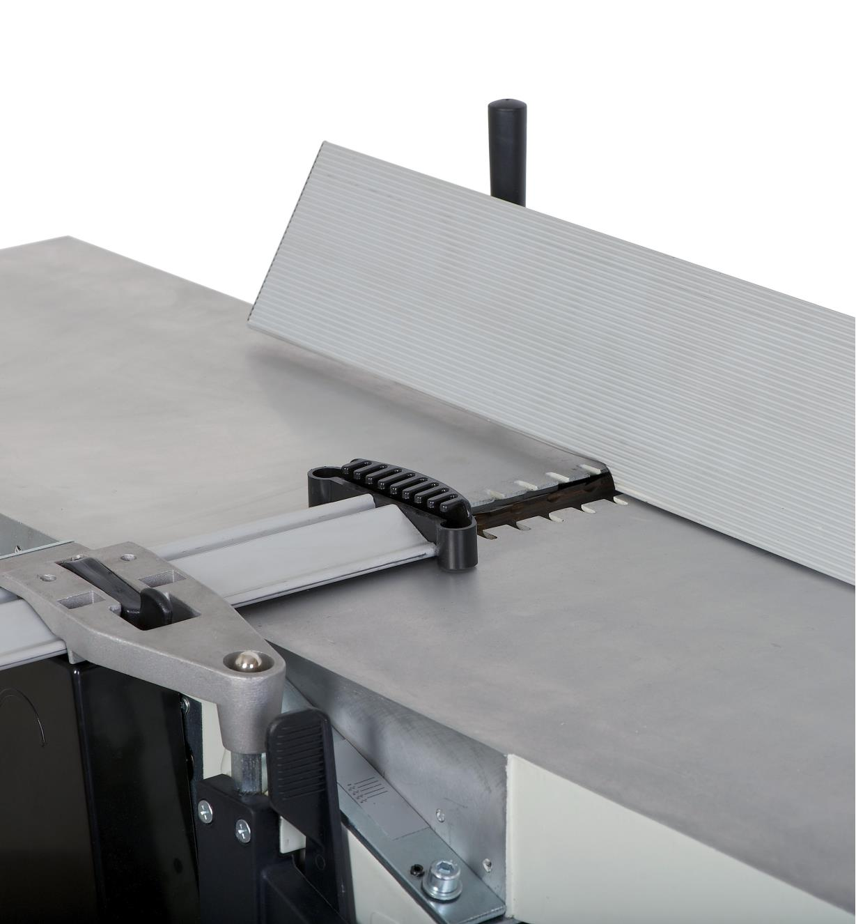 "The adjustable fence on the Rikon 10"" helical planer/jointer set at an angle for bevelling stock"