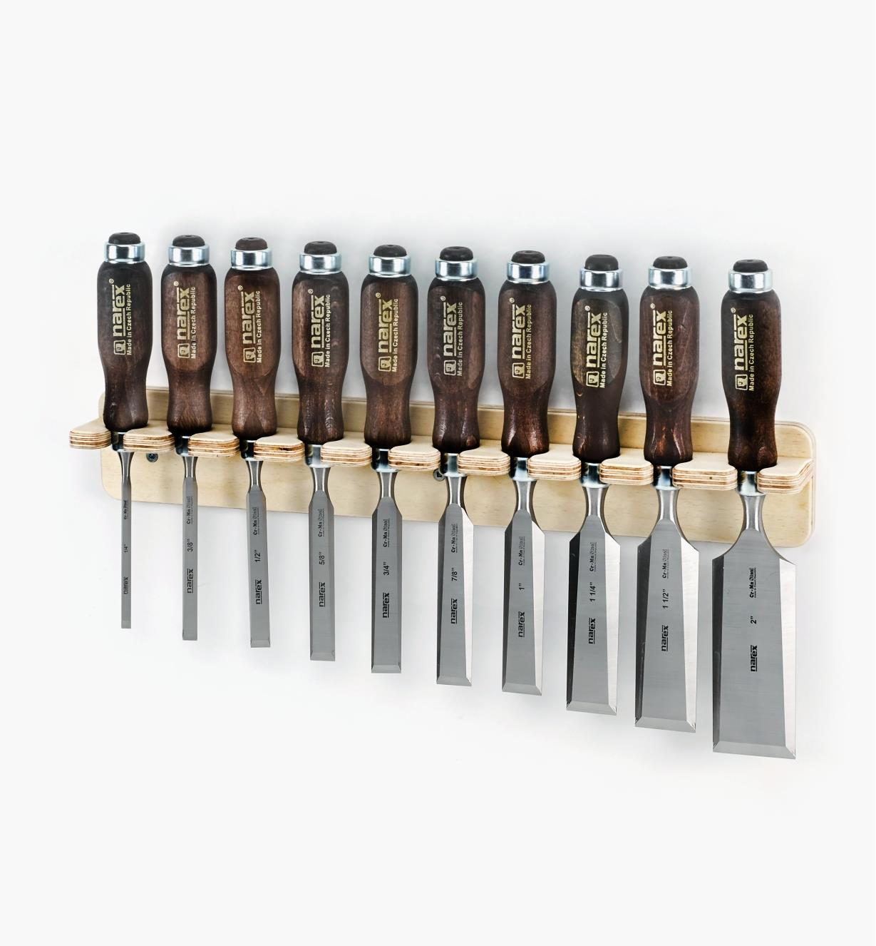 10S0980 - Set of 10 Narex Bevel-Edge Chisels & Wall Rack