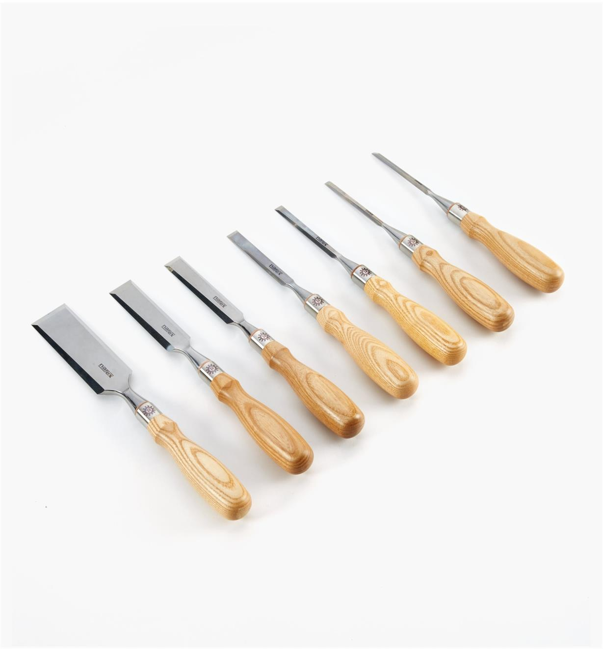 "10S1130 - Set of 7 Narex Richter Chisels (1/8"", 1/4"", 3/8"", 1/2"", 3/4"", 1"", 1 1/2"")"
