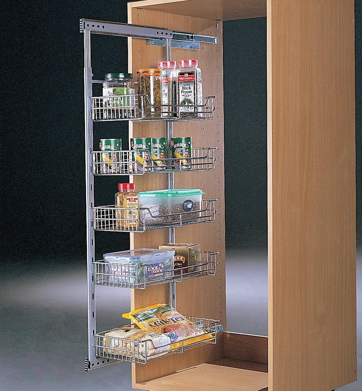 Example of a pantry cabinet made with a Medium Side-Mount Pullout