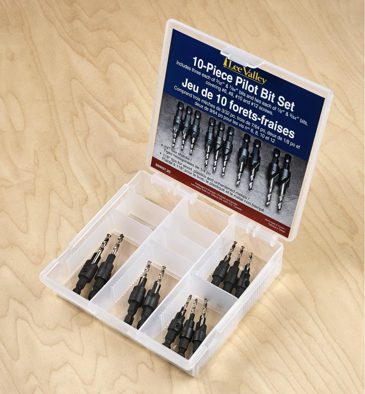 All ten pilot bits that are supplied in the set displayed in the included storage case