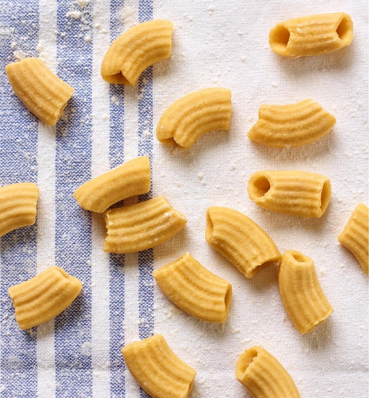 Fresh rigatoni noodles made with the Marcato Pasta Extruder