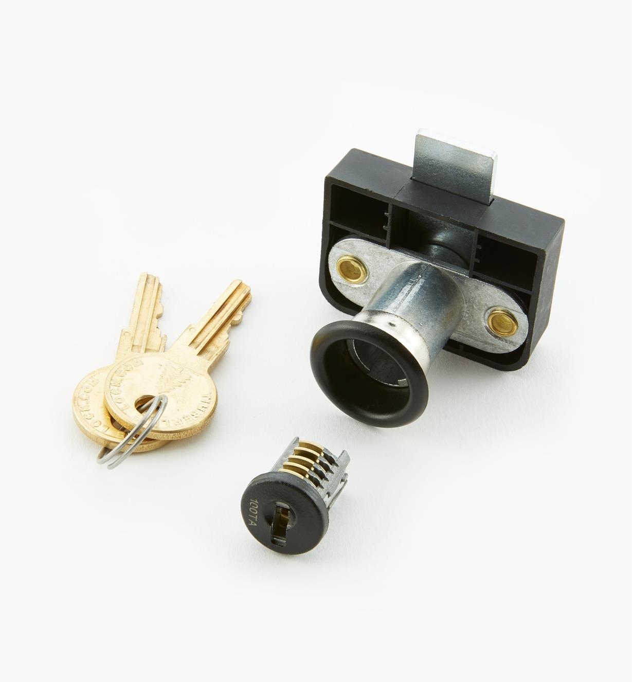 """00F0633 - 1 1/4"""" Offset Back-Mount Drawer Lock, Black"""
