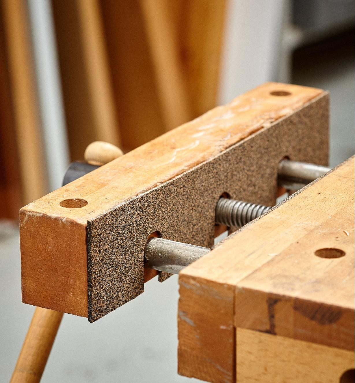 Cork and nitrile-rubber grip liner used to cushion the jaws of a front vise