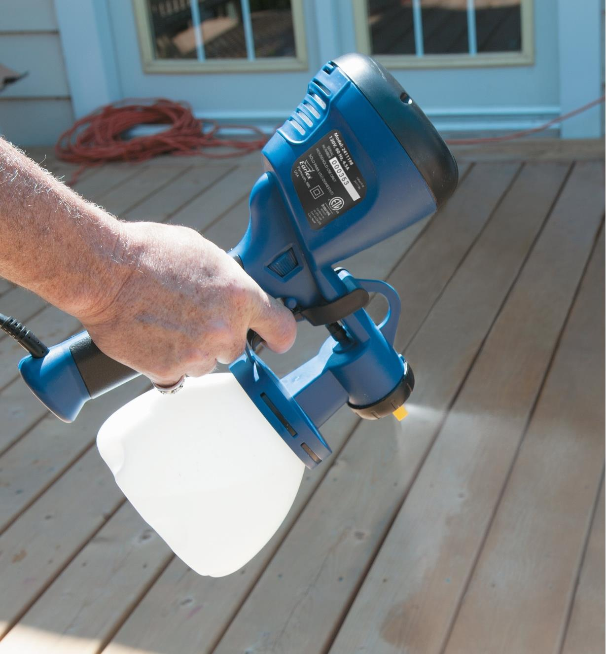 Speaking a deck with an All-in-One HVLP Sprayer