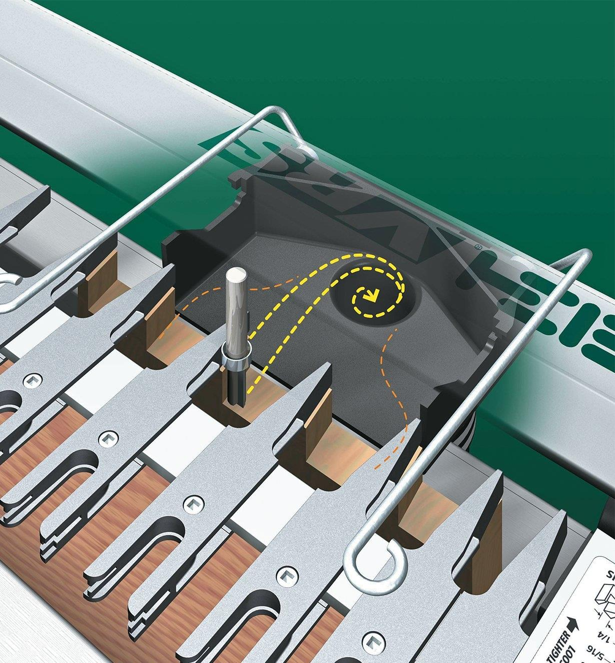 Illustration showing how chips and sawdust are drawn into the vacuum chute.