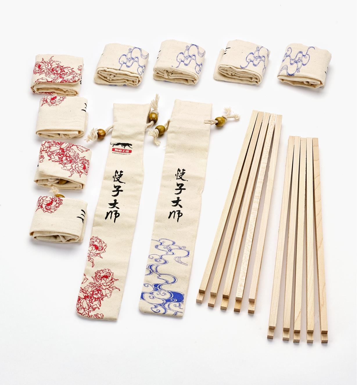 17N1608 - 10pr Maple Chopstick Blanks & Bags