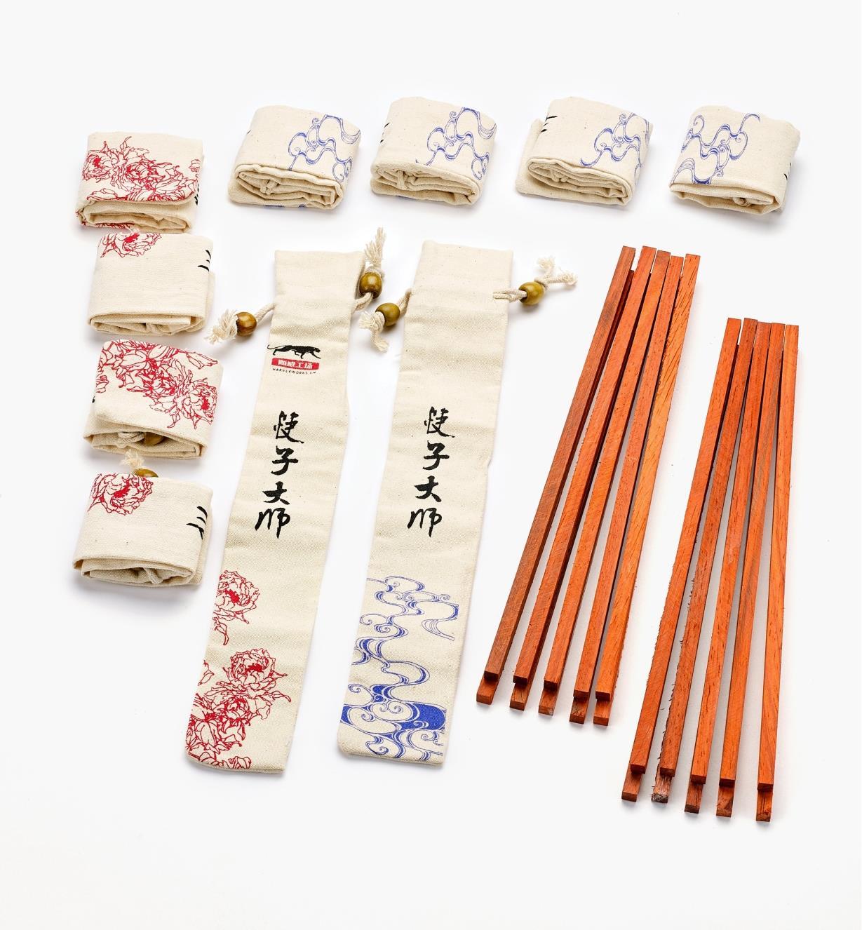 17N1609 - Ébauches de baguettes en padouk, 10 paires avec étuis