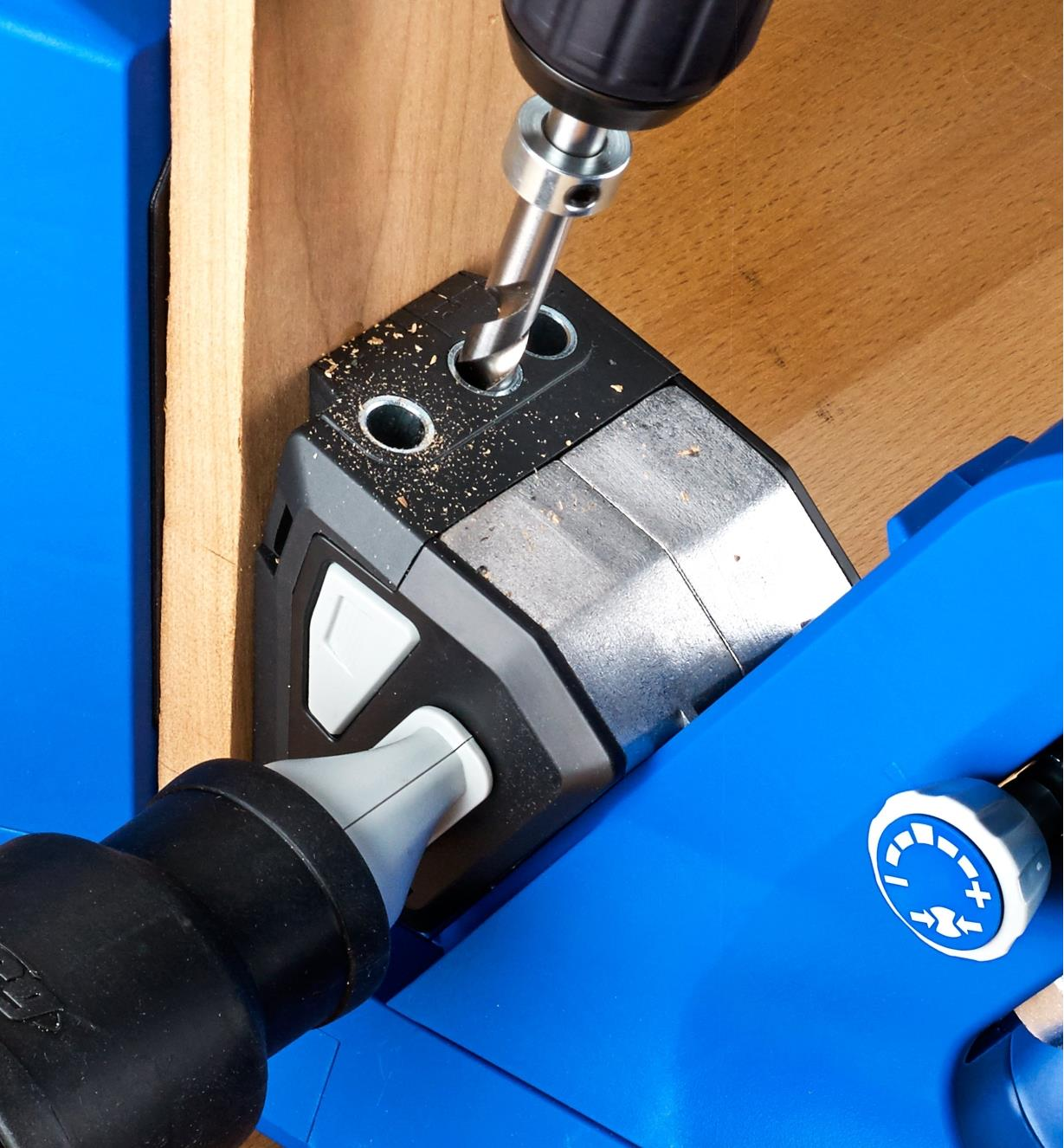 """A Kreg 730 drill guide used in place of the 720 Pro drilling block to drill pocket holes in 1/2"""" material"""