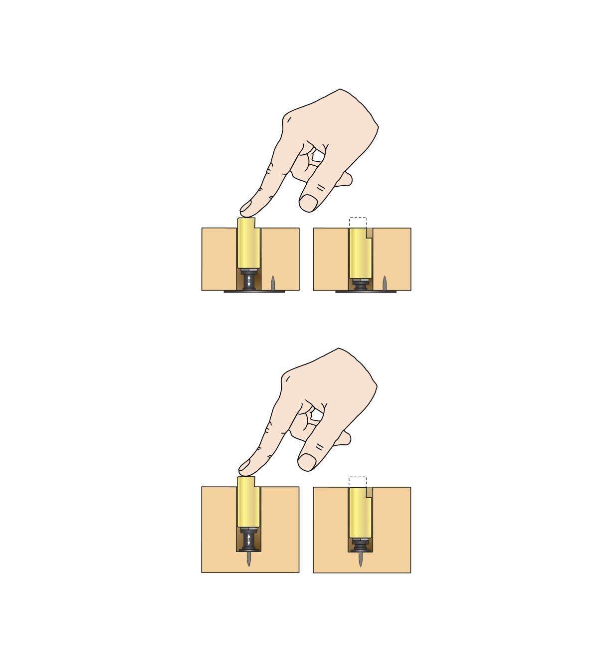 Illustration montrant un mentonnet-poussoir installé dans un trou traversant et dans un trou borgne, et sur lequel on appuie pour l'abaisser ou le faire remonter