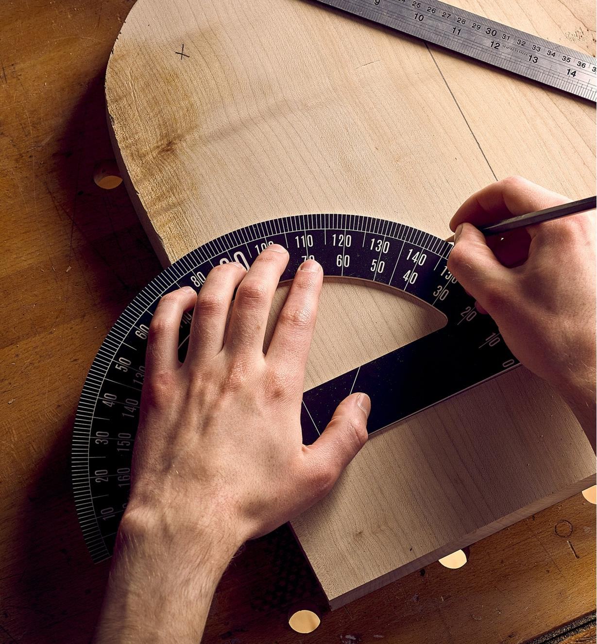 Marking an angle on a chair layout using the Crucible protractor