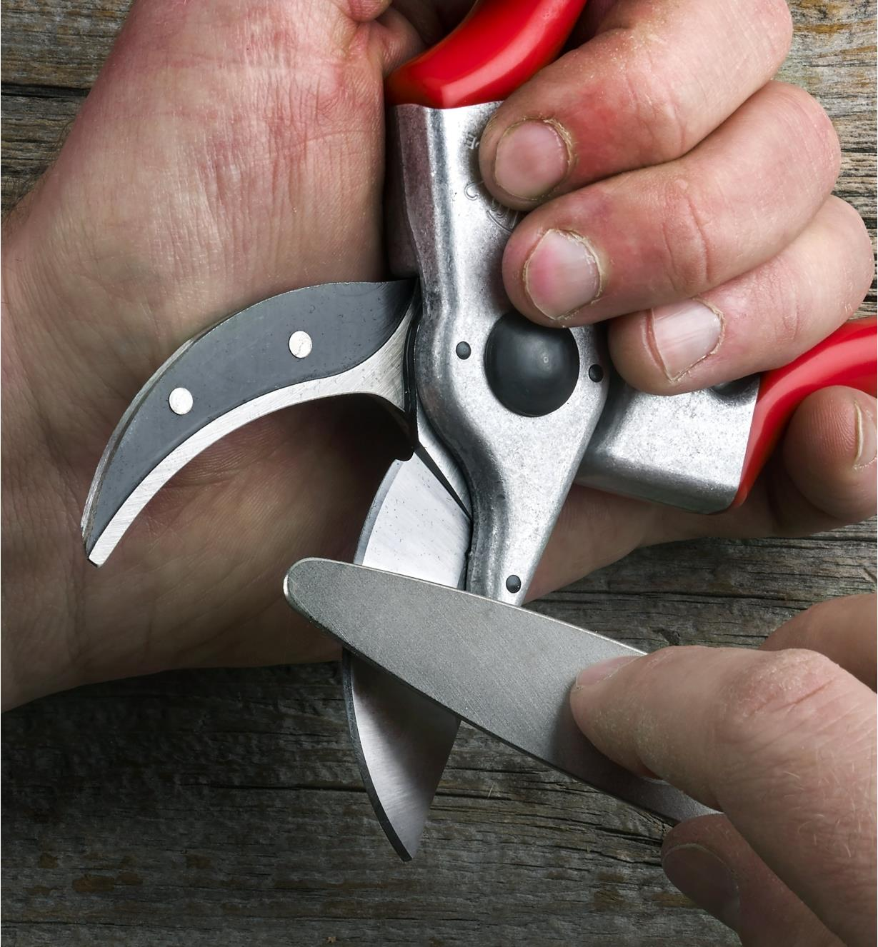 Sharpening the blade of a Felco #2 pruner using the sharpener included in the set