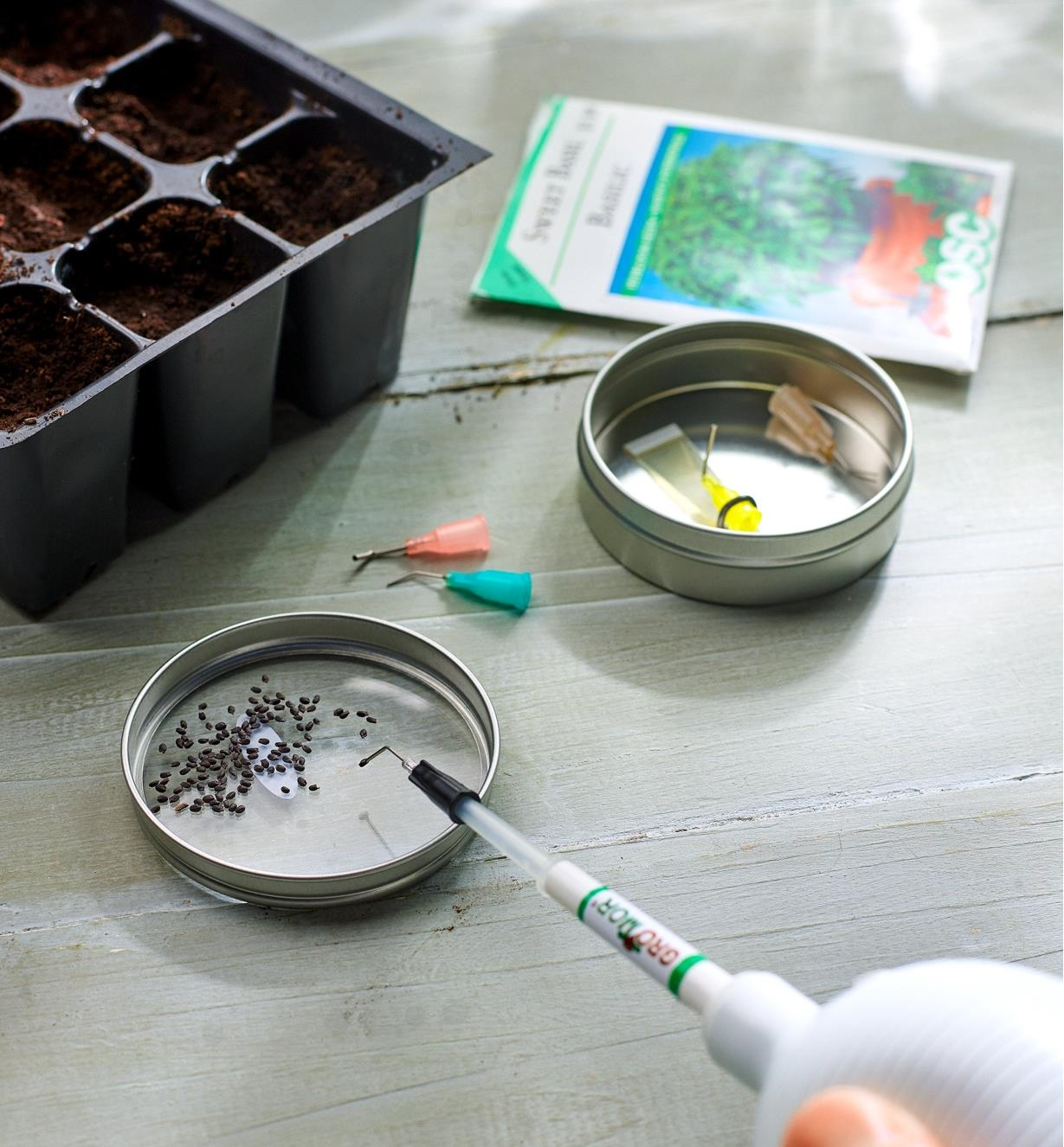 Planting small seeds with the mini wand seeder