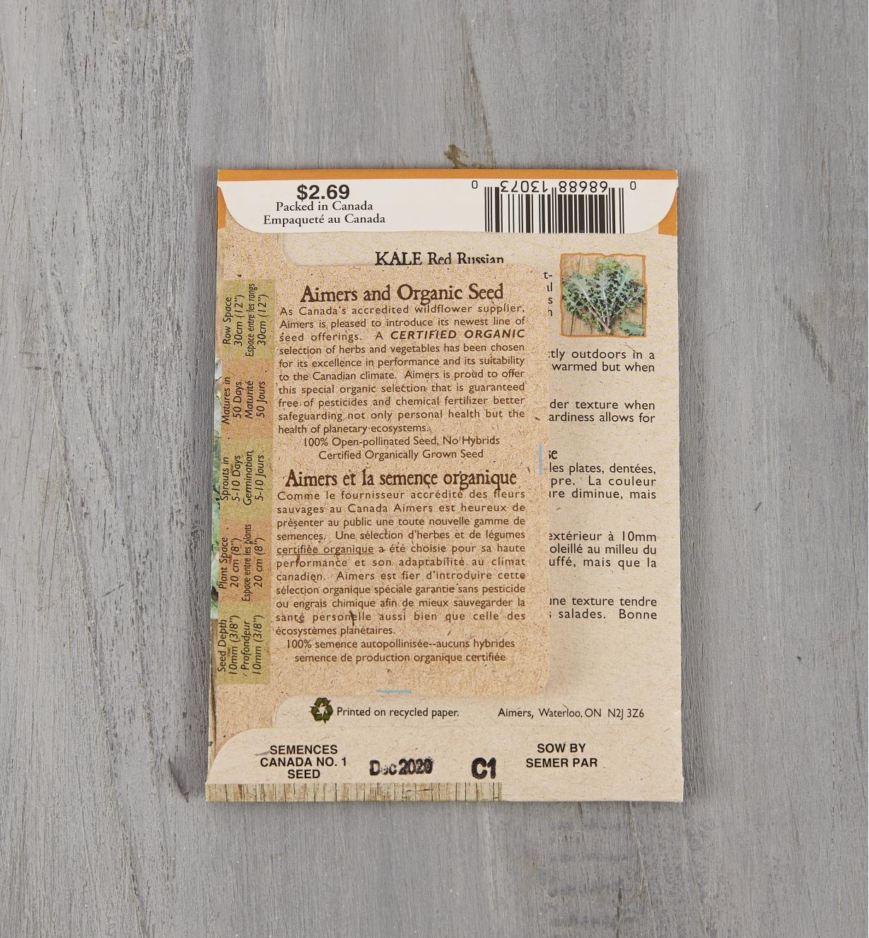 SD133 - Organic Kale, Red Russian