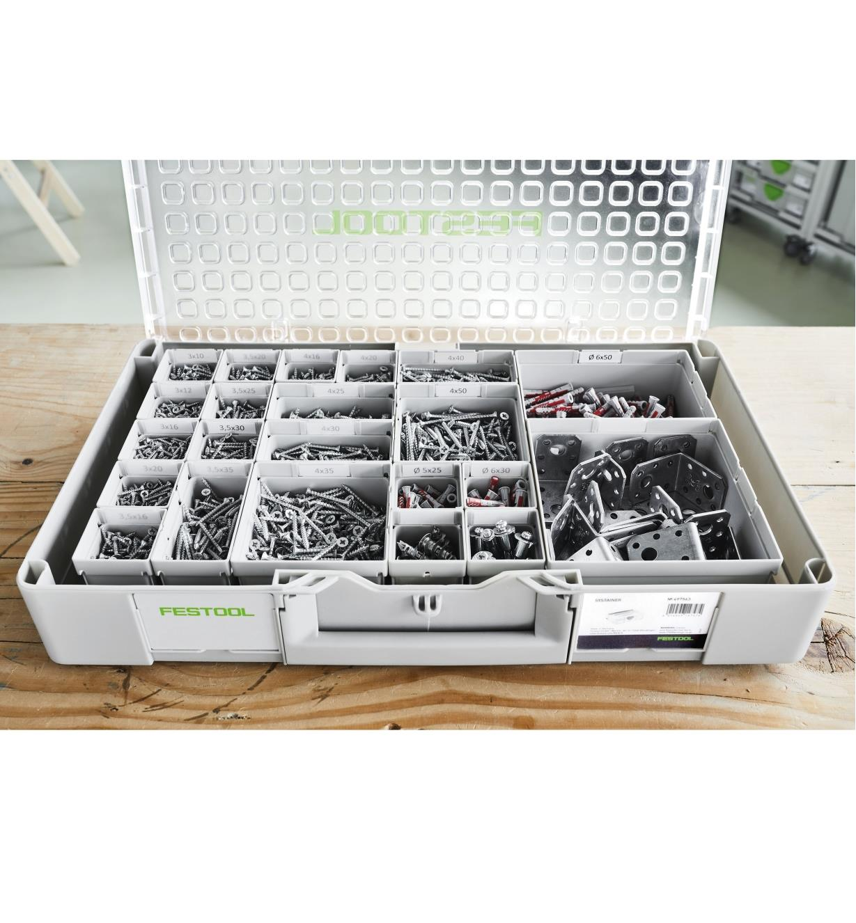 An organized assortment of hardware shown in the Systainer Organizer
