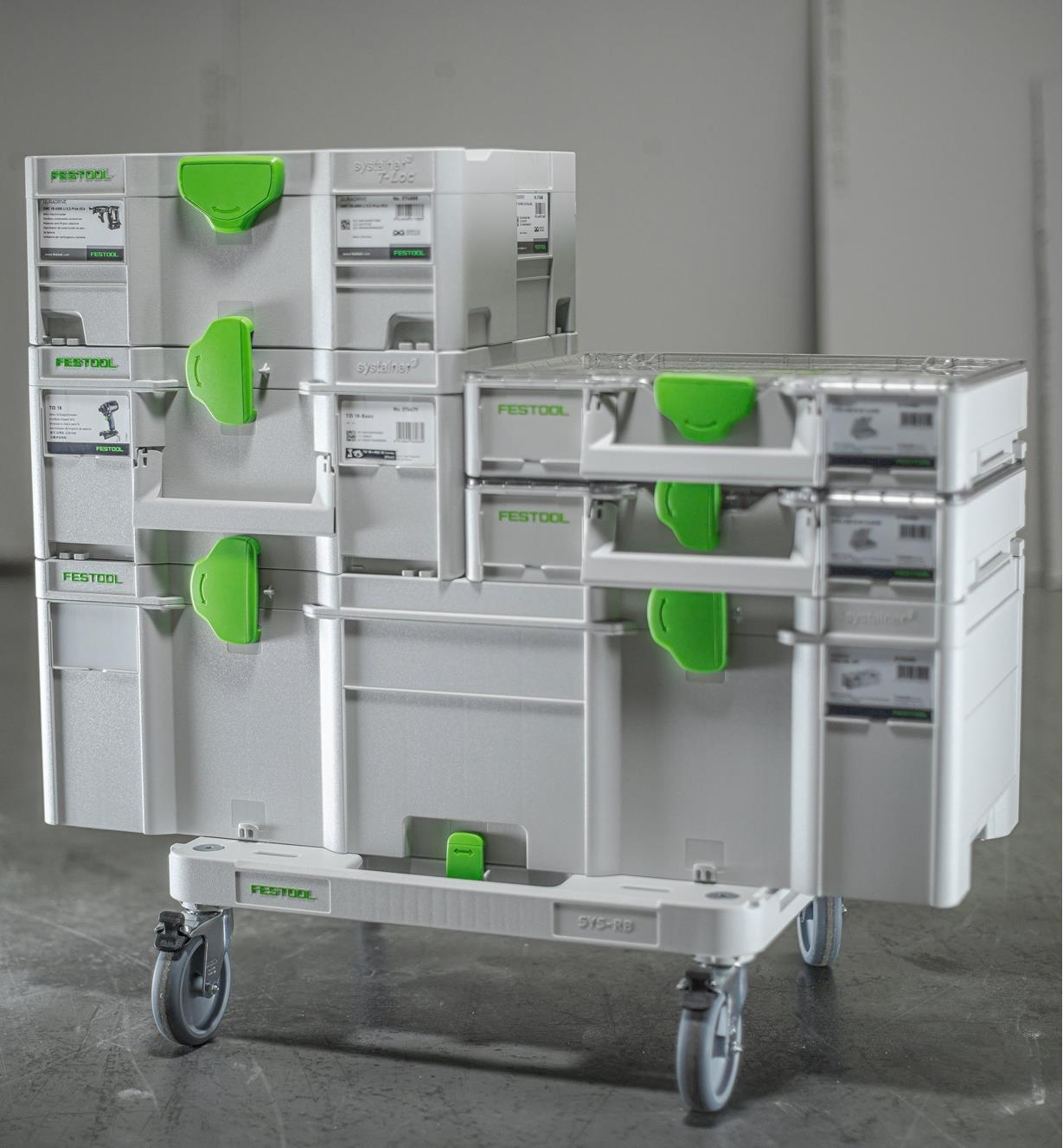 5 Systainers of various sizes stacked on a SYS-RB Dolly