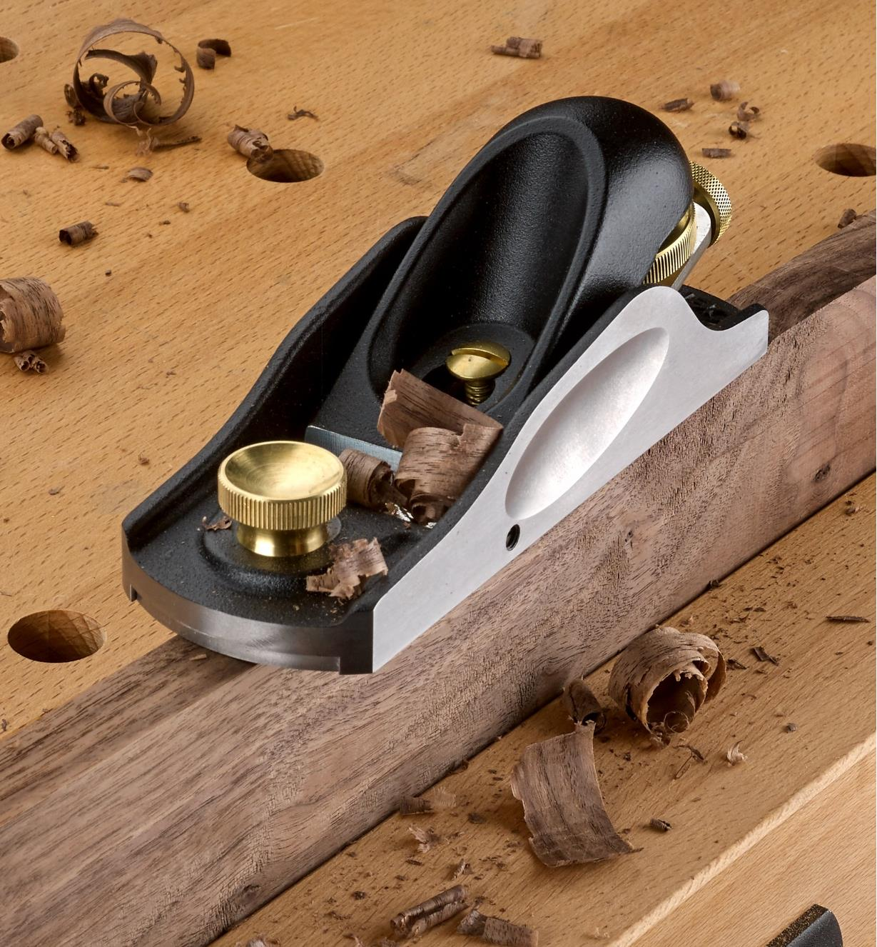 Veritas Low-Angle Block Plane sitting on a board held in a vise