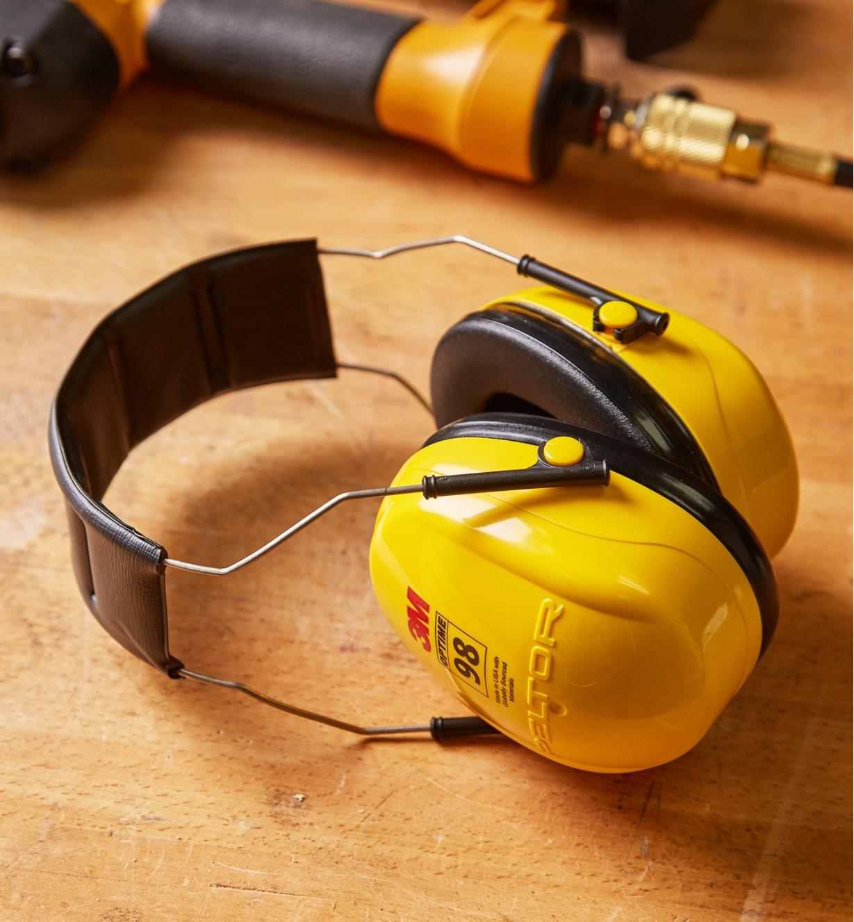 Hearing Protectors lying on a workbench