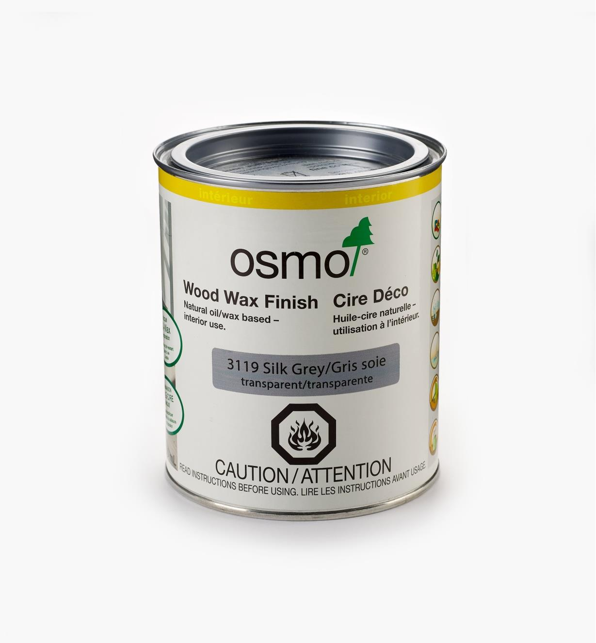 27K2755 - Osmo Wood Wax 3119 Silk Gray, 750ml (25.5 fl oz)