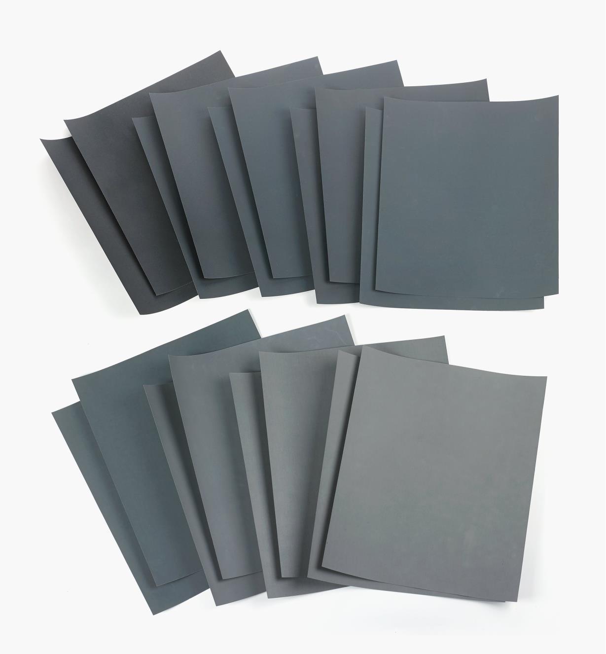 55K9390 - 18-Pc. Wet-Dry Sandpaper Sampler (320x-2500x)