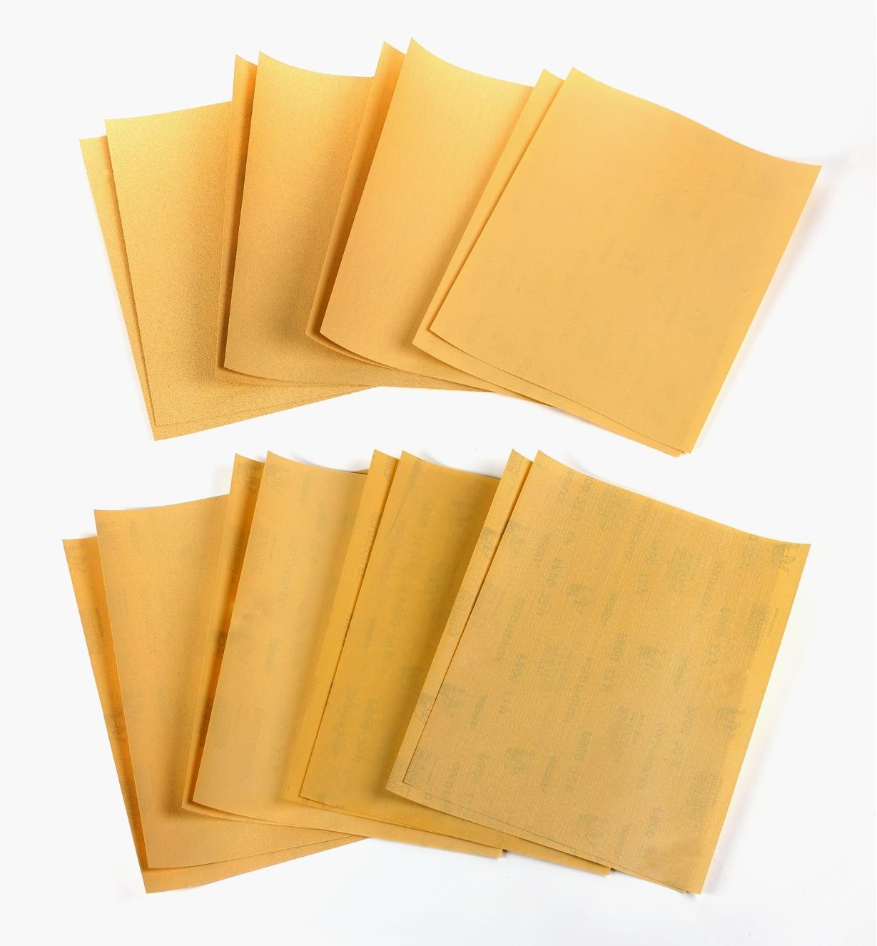 55K9393 - 16-Pc. Mirka Gold Sandpaper Sheet Sampler (80x-800x)